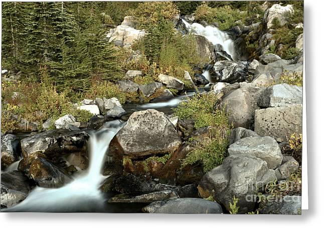 Rainier Skyline Waterfall Cascades Greeting Card by Adam Jewell