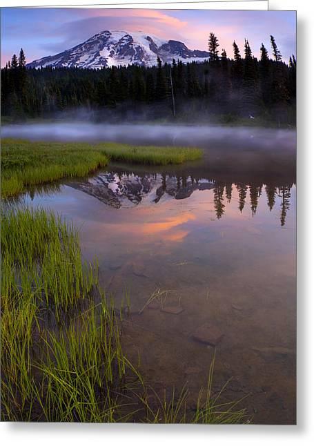 Mt Greeting Cards - Rainier Sunrise Cap Greeting Card by Mike  Dawson