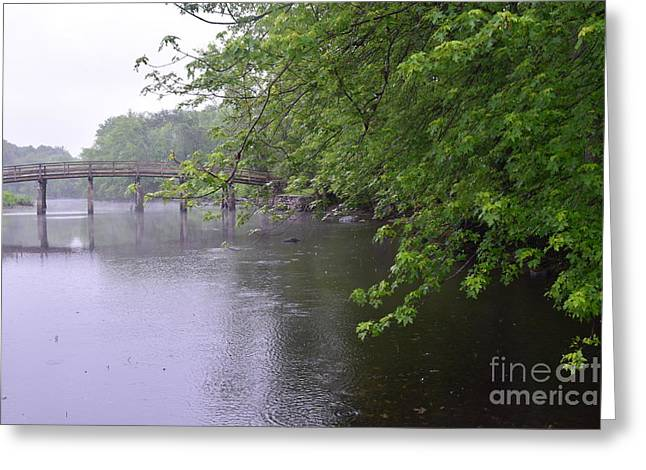Alcott Greeting Cards - Raining Afternoon Along the Concord River Greeting Card by Leslie M Browning