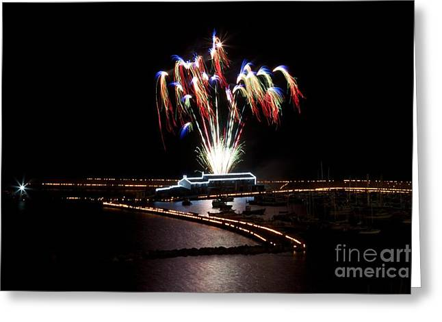 Fire Works Pyrography Greeting Cards - Raining colour. Greeting Card by Gary Bridger