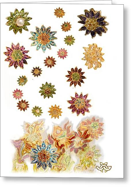 Gold Earrings Greeting Cards - Raining Daisies Greeting Card by Jane A  Gordon