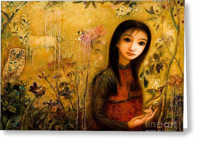 Dragonflies Mixed Media Greeting Cards - Raining Garden Greeting Card by Shijun Munns
