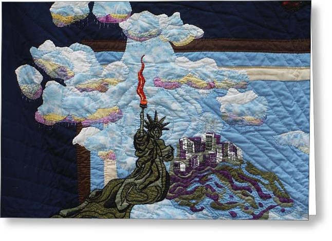 Building Tapestries - Textiles Greeting Cards - Raining on New York Greeting Card by Shirley Goss