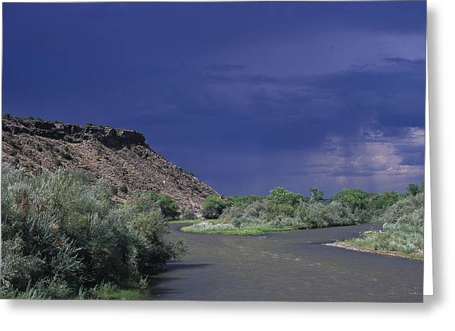 Santa Fe Greeting Cards - Rainstorm On The Desert Landscape Greeting Card by Stacy Gold