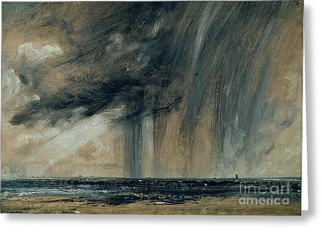 Stormy Clouds Greeting Cards - Rainstorm over the Sea Greeting Card by John Constable