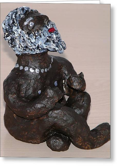 Wishes Sculptures Greeting Cards - Rainwisher Greeting Card by Valerie Ornstein
