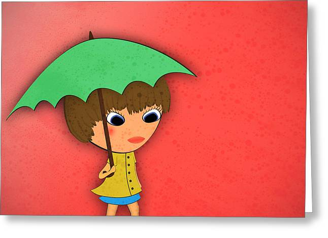 Little Girl Greeting Cards - Rainy Greeting Card by Abbey Staum