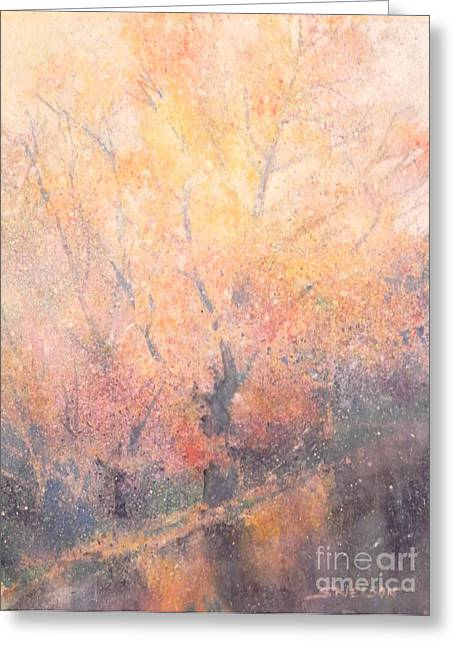 Water Fowl Greeting Cards - Rainy Autumn Greeting Card by Sharon Nelson-Bianco