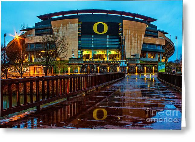 Rainy Autzen Stadium Greeting Card by Michael Cross