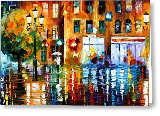 Christmas Art Greeting Cards - Rainy City - PALETTE KNIFE Oil Painting On Canvas By Leonid Afremov Greeting Card by Leonid Afremov