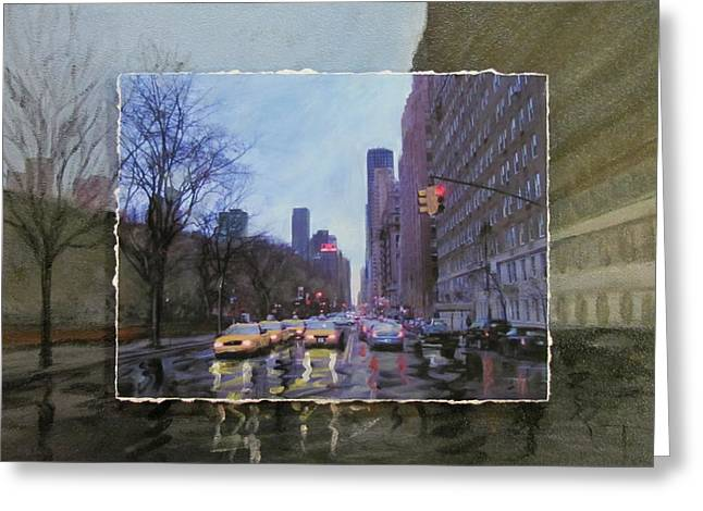 Central Park West Greeting Cards - Rainy City Street layered Greeting Card by Anita Burgermeister