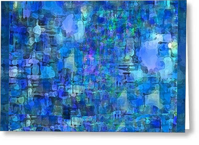 Abstract Rain Greeting Cards - Rainy Day Blue Abstract Greeting Card by Michele  Avanti