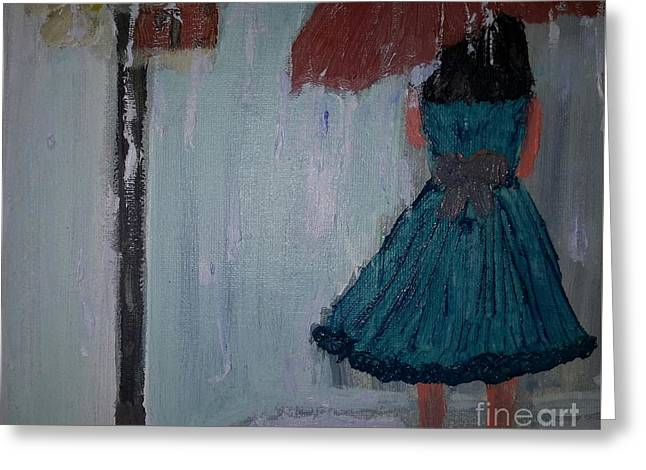 Teen Town Greeting Cards - Rainy Day Greeting Card by Cindy  Riley