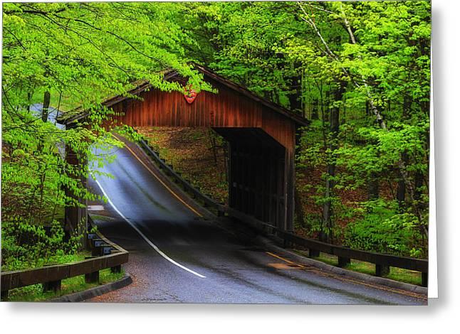 Covered Bridge Greeting Cards - Rainy Day Covered Bridge Greeting Card by Rachel Cohen