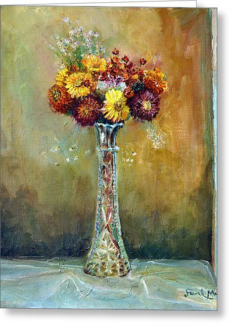 Angels Breath Greeting Cards - Rainy Day Flowers Greeting Card by Frank Maroney
