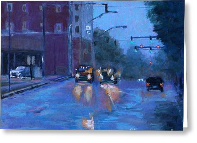 Headlight Pastels Greeting Cards - Rainy Day Fort Smith Greeting Card by Julie Mayser