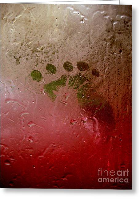 Rainy Day Hand Fist Footprint Greeting Card by Anna Lisa Yoder