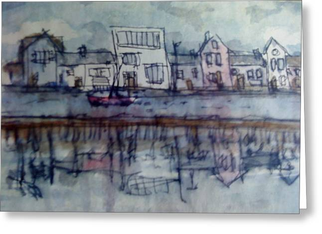 Reflection Sculptures Greeting Cards - Rainy day in Borth Greeting Card by Kate Loveridge