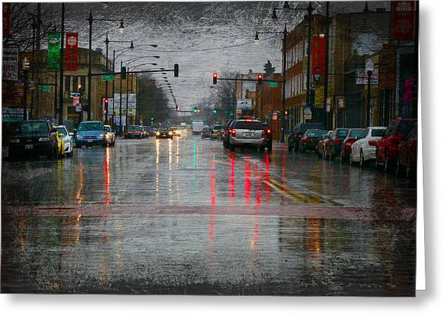 Rainy Day In Chicago Greeting Card by Robert Frank Gabriel