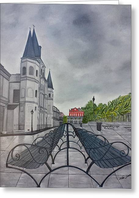 Overcast Day Greeting Cards - Rainy Day in Jackson Square Greeting Card by Judy Jones