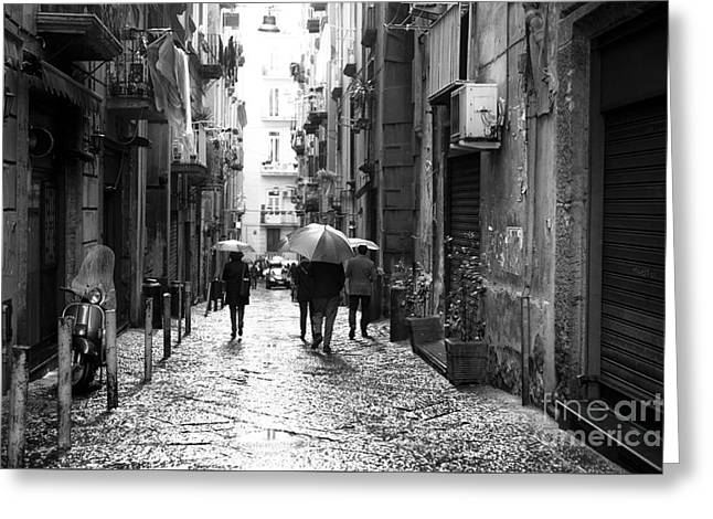 Old Street Greeting Cards - Rainy Day in Naples Greeting Card by John Rizzuto
