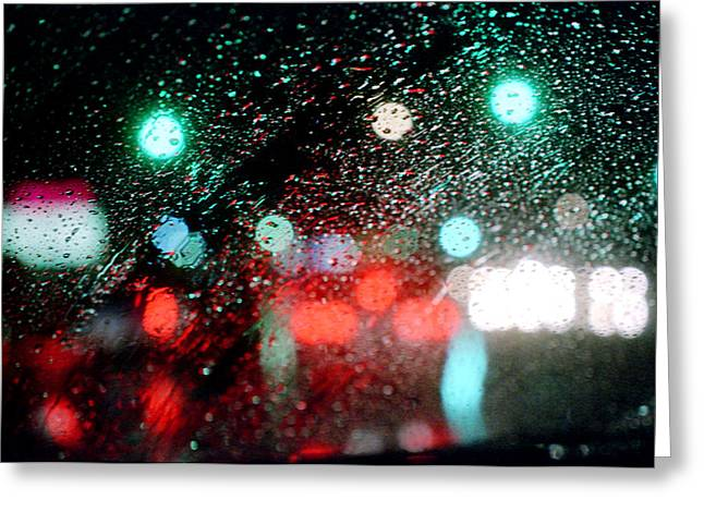 Abstract Rain Greeting Cards - Rainy day in the city Greeting Card by Emanuel Tanjala