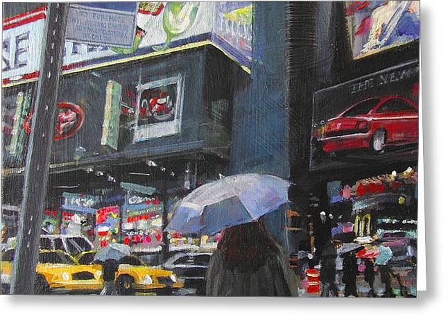 Rainy Day in Times Square Greeting Card by Patti Mollica