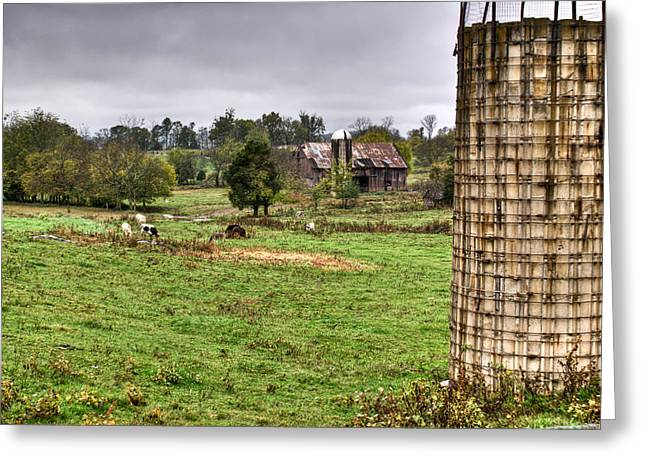 Grey Clouds Greeting Cards - Rainy Day on the Farm Greeting Card by Douglas Barnett