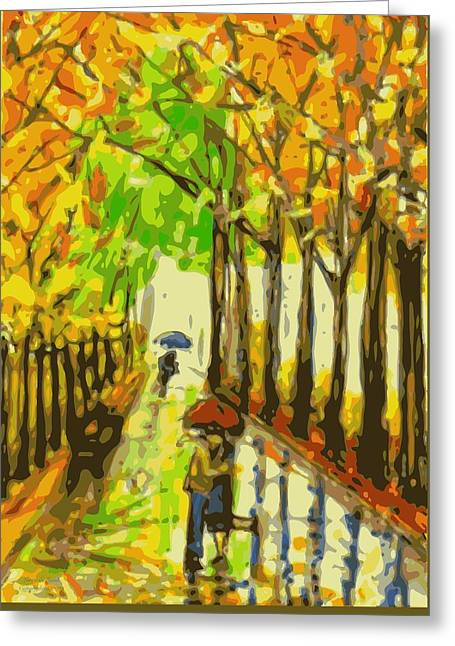 Bed Spread Greeting Cards - Rainy Day Romance orig sold Greeting Card by Larry E Lamb