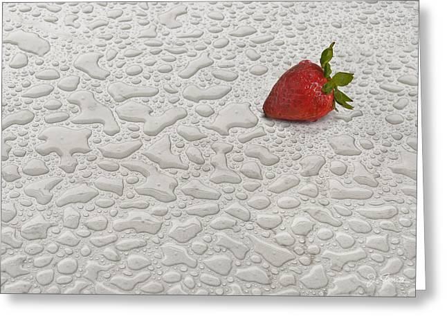 Raining Greeting Cards - Rainy Day Strawberry Greeting Card by Joe Bonita