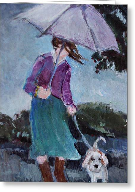 Dog Walking Greeting Cards - Rainy day walk with a friend Greeting Card by Diane Ursin