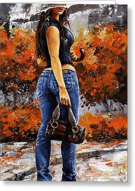 New York City Rain Greeting Cards - Rainy day - Woman of New York 14 Greeting Card by Emerico Imre Toth