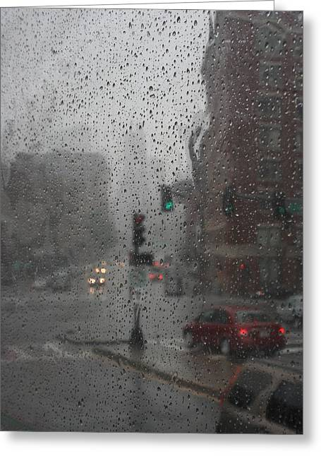 Julielueders Greeting Cards - Rainy Days in Boston Greeting Card by Julie Lueders