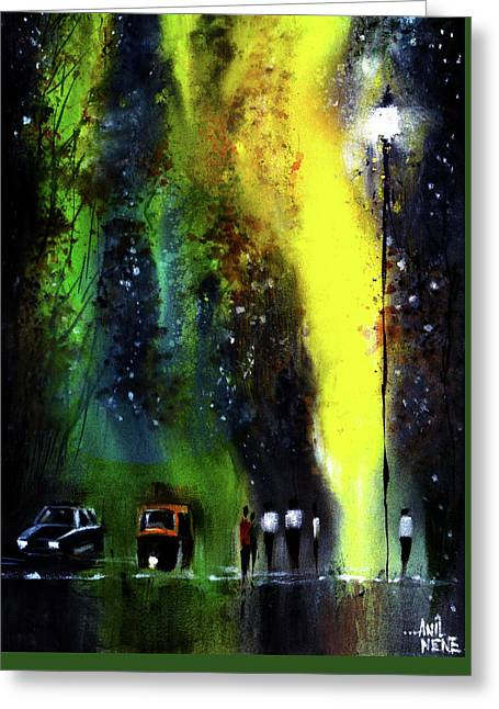 Rainy Evening Greeting Card by Anil Nene