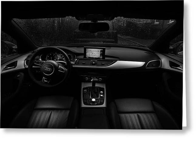 Gps Greeting Cards - Rainy Evening In An Audi Greeting Card by Thomas Ulrich