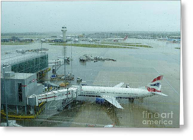 Traffic Control Greeting Cards - Rainy London Gatwick Airport Greeting Card by Phil Banks