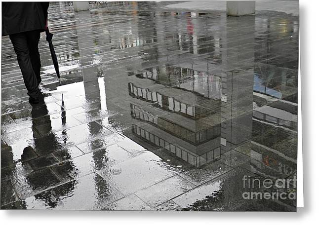 Abstract Rain Greeting Cards - Rainy Morning in Mainz Greeting Card by Sarah Loft