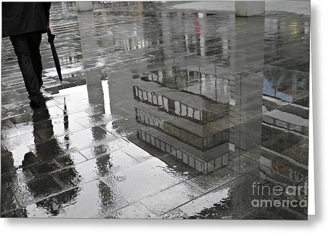 Sarah Loft Greeting Cards - Rainy Morning in Mainz Greeting Card by Sarah Loft