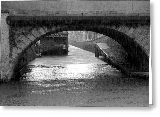 River Flooding Greeting Cards - Rainy Naviglio Greeting Card by Valentino Visentini