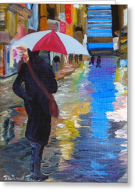 Rainy New York Greeting Card by Michael Lee