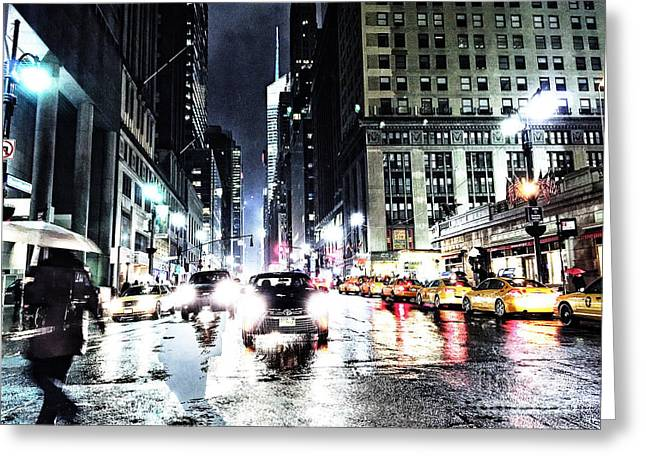 Crosswalk Greeting Cards - Rainy Night Greeting Card by Angelo Merluccio