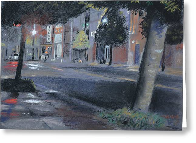 Raining Pastels Greeting Cards - Rainy Night Greeting Card by Christopher Reid