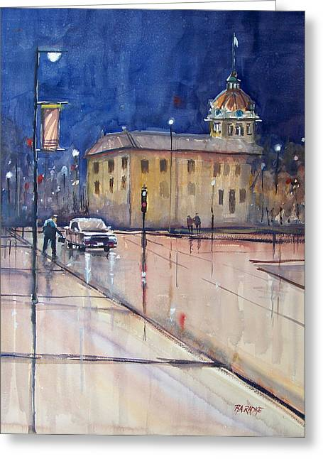 Watercolor Figure Greeting Cards - Rainy Night in Green Bay Greeting Card by Ryan Radke