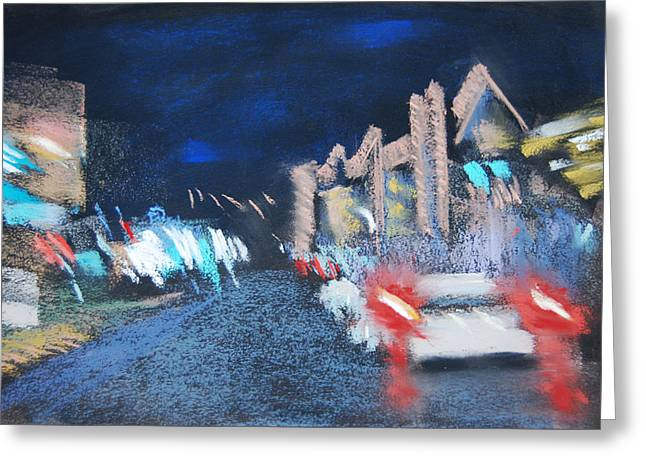 Night Scenes Pastels Greeting Cards - Rainy Night in Newport Greeting Card by Sandra Ortega