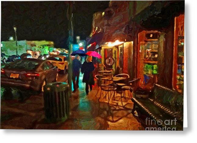 Abstract Rain Greeting Cards - Rainy Night Stroll Greeting Card by Le Artman