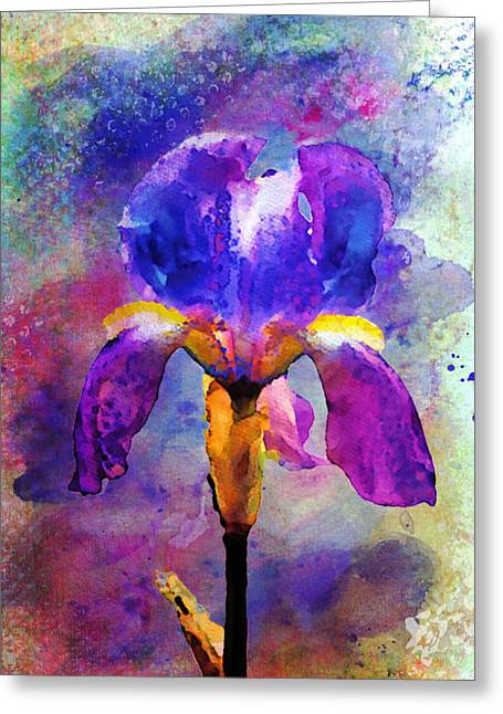 Texture Floral Mixed Media Greeting Cards - Rainy Weekend Iris Greeting Card by Moon Stumpp