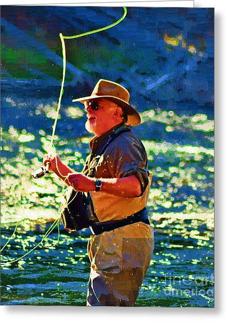 Yellowstone Digital Art Greeting Cards - Raising Cane Greeting Card by Diane E Berry