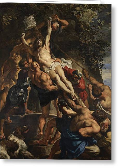 Art Of Muscle Greeting Cards - Raising of the Cross Greeting Card by Peter Paul Rubens