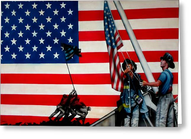4th July Paintings Greeting Cards - Raising Old GLory Greeting Card by Brett Sauce