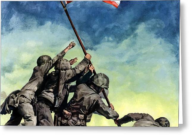 Raising The Flag On Iwo Jima Greeting Card by War Is Hell Store